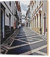 Tiled Street Of Ponta Delgada Wood Print
