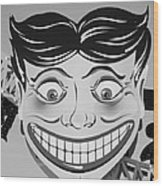 Tillie The Clown Of Coney Island In Black And White Wood Print