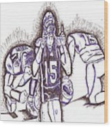Tim Tebow Glory Wood Print