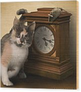 Time For Cat And Mouse Wood Print