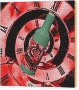 Time In A Bottle Red Wood Print