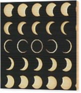 Time-lapse Image Of A Solar Eclipse Wood Print