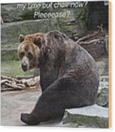 Time Out Bear Wood Print