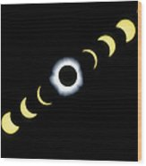 Timelapse Image Of A Total Solar Eclipse Wood Print