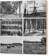 Timeless Brabant Collage - Black And White Wood Print