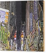 Times Square Abstract Wood Print by Robert Ponzoni