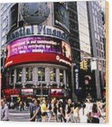 Times Square Corner Wood Print
