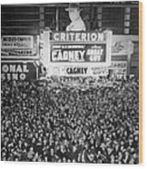 Times Square Election Crowds Wood Print