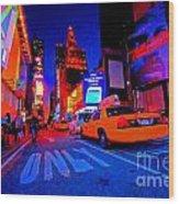 Times Square Nitelife Wood Print