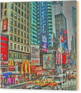 Times Square One Wood Print by Alberta Brown Buller