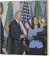 Timothy Geithner Sworn-in As Secretary Wood Print by Everett