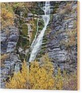 Timpanogos Waterfall In The Fall - Utah Wood Print