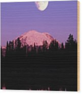 Tipsoo Lake And Full Moon At Mount Ranier National Park In Washington Wood Print by Steve Satushek