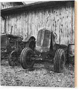 Tired Tractors Bw Wood Print