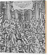 Title Page To Vesalius' Book On Anatomy Wood Print