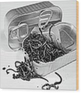 To Open A Can Of Worms Wood Print