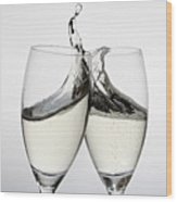 Toasting With Two Glasses Of Champagne Wood Print