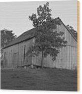Tobacco Barn II In Black And White Wood Print