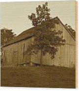 Tobacco Barn II In Sepia Wood Print