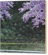 Togetsukyo Bridege In Cherrybrossom Wood Print
