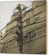 Tokyo Electric Pole Wood Print