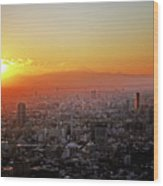 Tokyo Sunset Wood Print