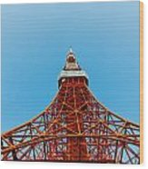Tokyo Tower Faces Blue Sky Wood Print by Ulrich Schade