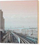 Tokyo Train Ride 3 Wood Print by Naxart Studio