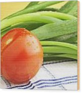 Tomato And Green Onions Wood Print