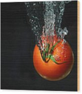 Tomato Falling Into Water Wood Print