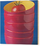 Tomato In Stacked Bowls Wood Print by Garry Gay
