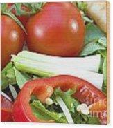 Tomato Salad Close Up Wood Print