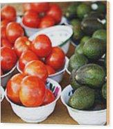 Tomato Y Avacado Wood Print