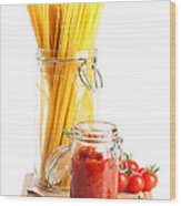 Tomatoes Sauce And  Spaghetti Pasta  Wood Print by Amanda Elwell