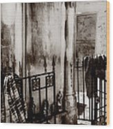 Tomb Famille Perrault Black And White Wood Print