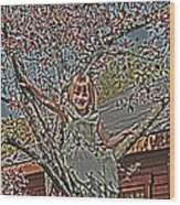 Tomboy In The Tree Wood Print