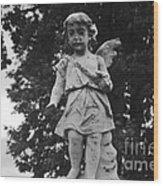 Tombstone Angel Bw Wood Print