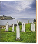 Tombstones Near Atlantic Coast In Newfoundland Wood Print by Elena Elisseeva