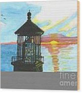 Top Of A Lighthouse At Sunset Wood Print