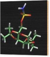Topiramate Molecule, Anti-epilepsy Drug Wood Print by Dr Tim Evans