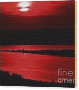 Topsail Island Blood-red Sunset Wood Print by Julie Dant
