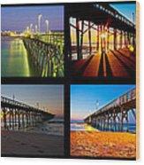 Topsail Piers At Sunrise Wood Print