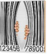 Torn Bar Code Wood Print by Carlos Caetano