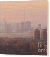 Toronto Foggy Sunrise Wood Print