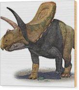 Torosaurus Latus, A Prehistoric Era Wood Print