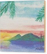 Tortola Sunset Wood Print