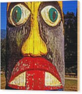 Totem Pole With Tongue Sticking Out Wood Print