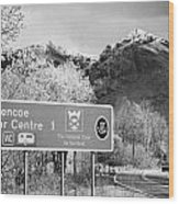 tourist sign for glencoe visitors centre in glen coe highlands Scotland uk Wood Print
