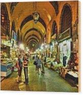 Tourists At The Grand Bazaar Wood Print