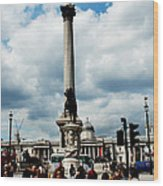 Tourists At Trafalgar Square Wood Print